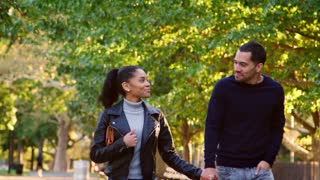 Young Hispanic couple walking hand in hand in Brooklyn park