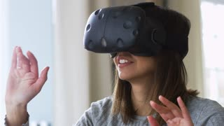 Woman At Home Wearing Virtual Reality Headset Shot On R3D