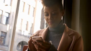Woman Connecting With Social Media In Restaurant