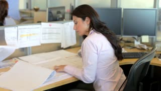 Woman Working At Desk In Architects Office