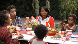Women and children talking at 4th July family barbecue