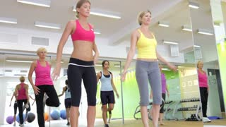 Women Taking Part In Gym Fitness Class