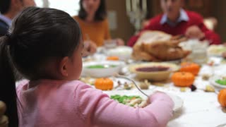 Young Girl Enjoying Family Thanksgiving Dinner