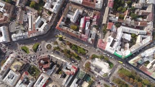 Aerial view of Lviv, old city buildings, and traffic. Ukraine 4k