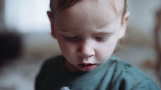 little boy sneezes funny. then looks at the camera