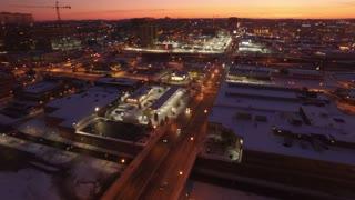Aerial Snow Nashville Neighborhood 004 Sunset Fly Over