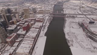 Aerial Snow Nashville Skyline 007 Pan Left