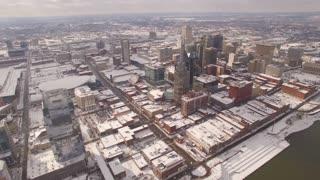Aerial Snow Nashville Skyline 018 Part 3 Boom Up Birds Eye View