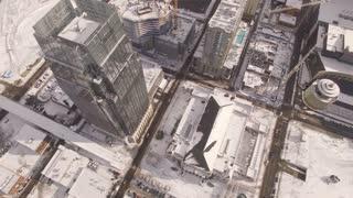 Aerial Snow Nashville Skyline 021 Birds Eye View Fly Over