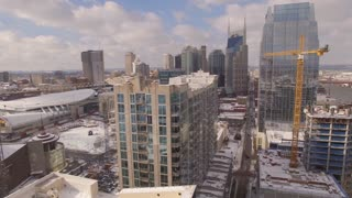 Aerial Snow Nashville Skyline 023 Part 2 Dolly Right Passed Tower Cranes