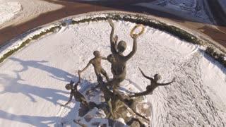 Aerial Snow Public Sculpture Musica 015 Ccw Orbit Close