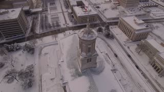 Aerial Snow Tennessee State Capitol 003 Tower And Flags