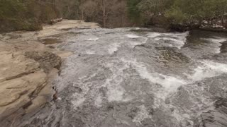 Aerial Snow Tennessee Waterfall Birds Eye View 005 Fly Over Tilt Down