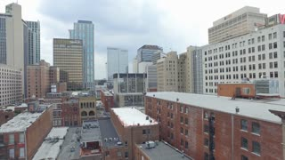 Aerial Summer Nashville Downtown 002 Skyline Boom Up Pan Left To River
