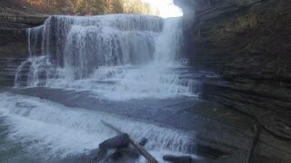 Aerial Winter Tennessee Waterfall 008 Dolly Left