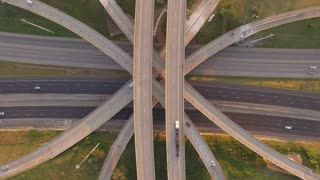 Birds Eye View Busy Interstate Mixmaster At Sunset 002