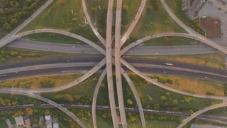 Birds Eye View Busy Interstate Mixmaster At Sunset 003