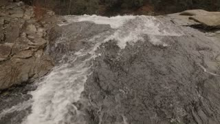 Esm 60 Fps Aerial Winter Tennessee Waterfall Birds Eye View 001 Fly Over Crest Tilt Down