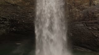 Esm Slow Motion 60 Fps Aerial Winter Tennessee Waterfall 003 Close Hover Tilt Down To Base