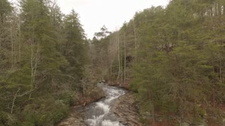 Esm Slow Motion 60 Fps Aerial Winter Tennessee Waterfall Crest To Base 001 Boom Down