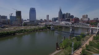 Flying Away From Nashville Skyline Over Bridge