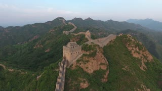 Flying Over Large Tower On Great Wall Of China 001