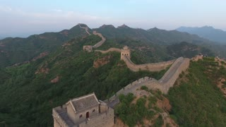 Flying Over Large Tower On Great Wall Of China 002