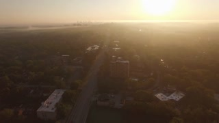 High Above Distant Nashville Skyline At Sunrise