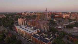 Nashville Construction Site Tower Cranes At Sunrise