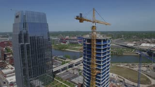Orbiting Nashville Skyscraper And Tower Crane