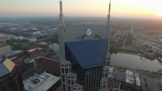 Orbiting Nashville Skyscrapers And Skyline At Sunrise 003