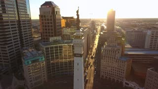 Beautiful Statue Of Indianapolis Monument At Sunrise