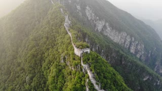 Long Epic Flight Up Mountain Ridge Of The Great Wall Of China