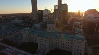 Over State Capitol At Sunrise Towards Indianapolis Skyline