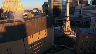 Through Steam Vent At Sunrise In Downtown Indianapolis