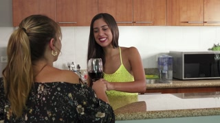 1 Women Celebrating At Home Doing Toast With Red Wine
