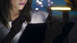 1 Young Woman Using Tablet PC Indoor At Night
