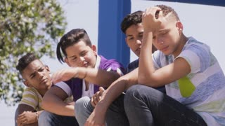 10-Group Of Teenagers Boys Supporting Comforting Friend