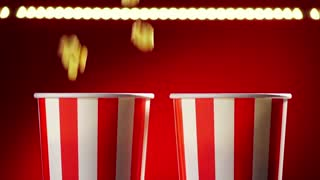 11 Bowls Filled With Popcorn For Movie Night Slowmotion 120p