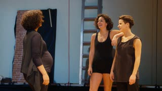 Arts, entertainment, show business, cinema, theater, people, pregnant woman.mov