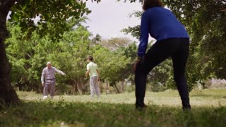 12-Happy Family Grandma Grandpa And Boy Playing Football
