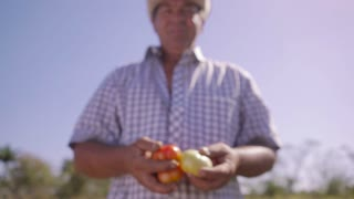 14-Portrait Man Farmer Smiling And Showing Tomatoes To Camera
