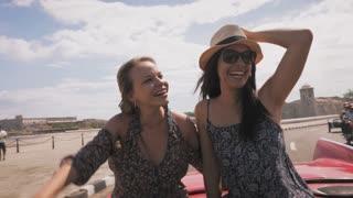 14-Slowmotion Happy Tourist Girls On Vintage Car Havana Cuba