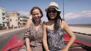 15-Slowmotion Happy Tourist In Cuba On Vintage Car Send Kiss