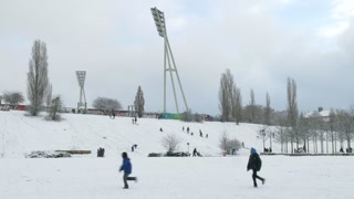 18 Berlin Germany People Playing In Winter Snow Park Stadium