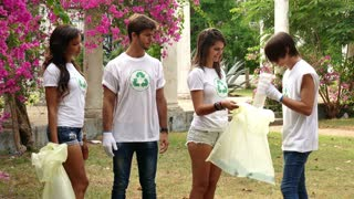 25 Environment Ecology Happy People Collecting Trash Garbage Cleaning Park