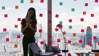 3 Business Person Attaching Sticky Notes On Large Window