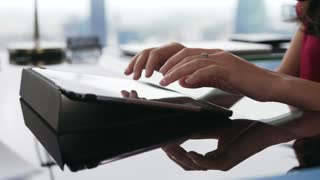 4 Secretary Typing Email On Tablet PC In Office