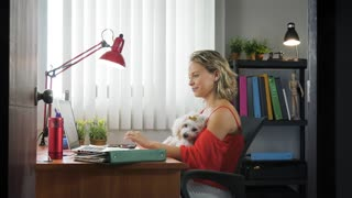5-Portrait Business Woman Working With Pet Dog In Office