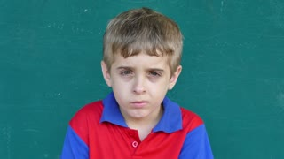 57 Caucasian Children Portrait Sad Young Boy Face Expression